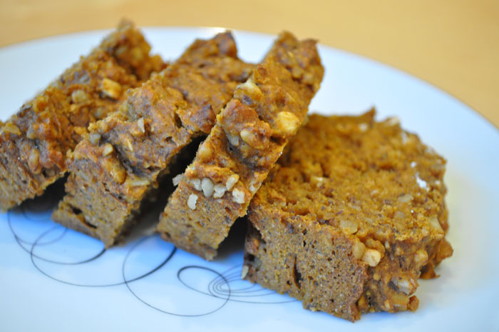 Pumpkin Bread with Ground Flax and Walnuts