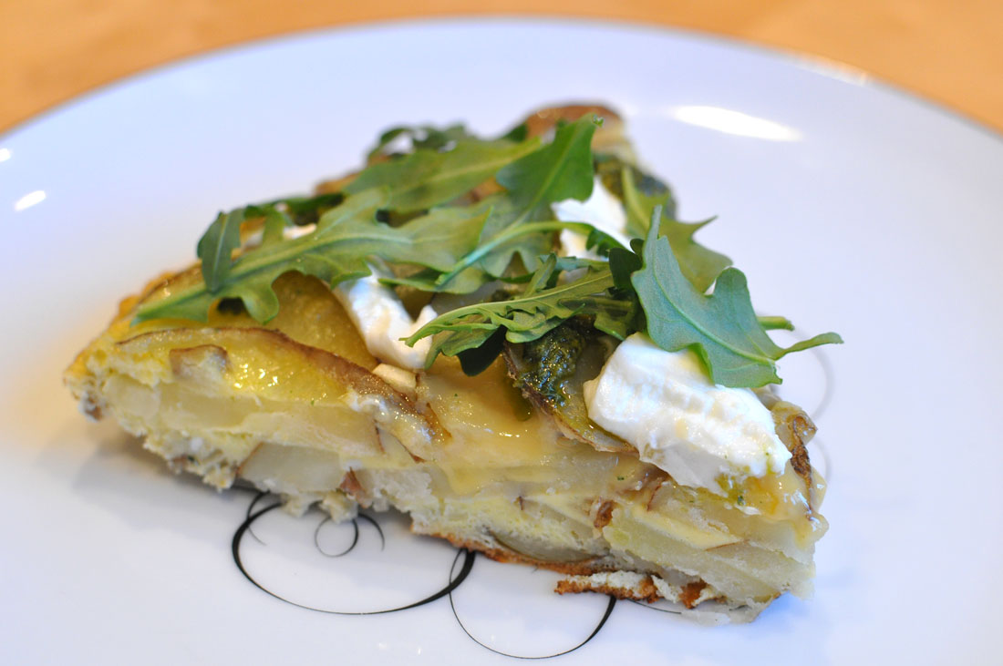 Spanish Frittata with Goat Cheese and Pesto